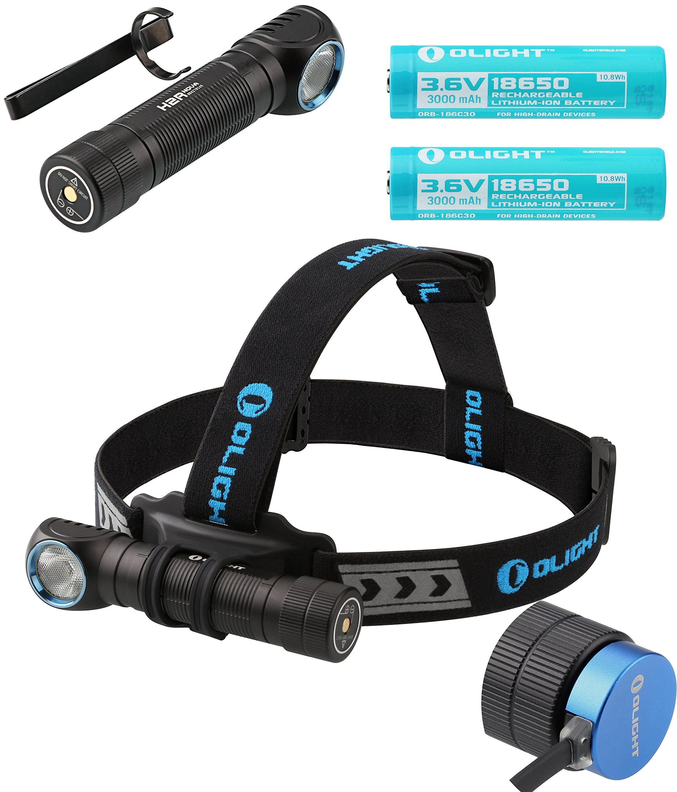 2 Batteries Kit: Olight H2R Nova 2300 Lumen LED Rechargeable Flashlight, Headlamp headband, Clip, two Customized 18650 Batteries, magnetic USB charging cable and LegionArm sticker (LED: Cool White)