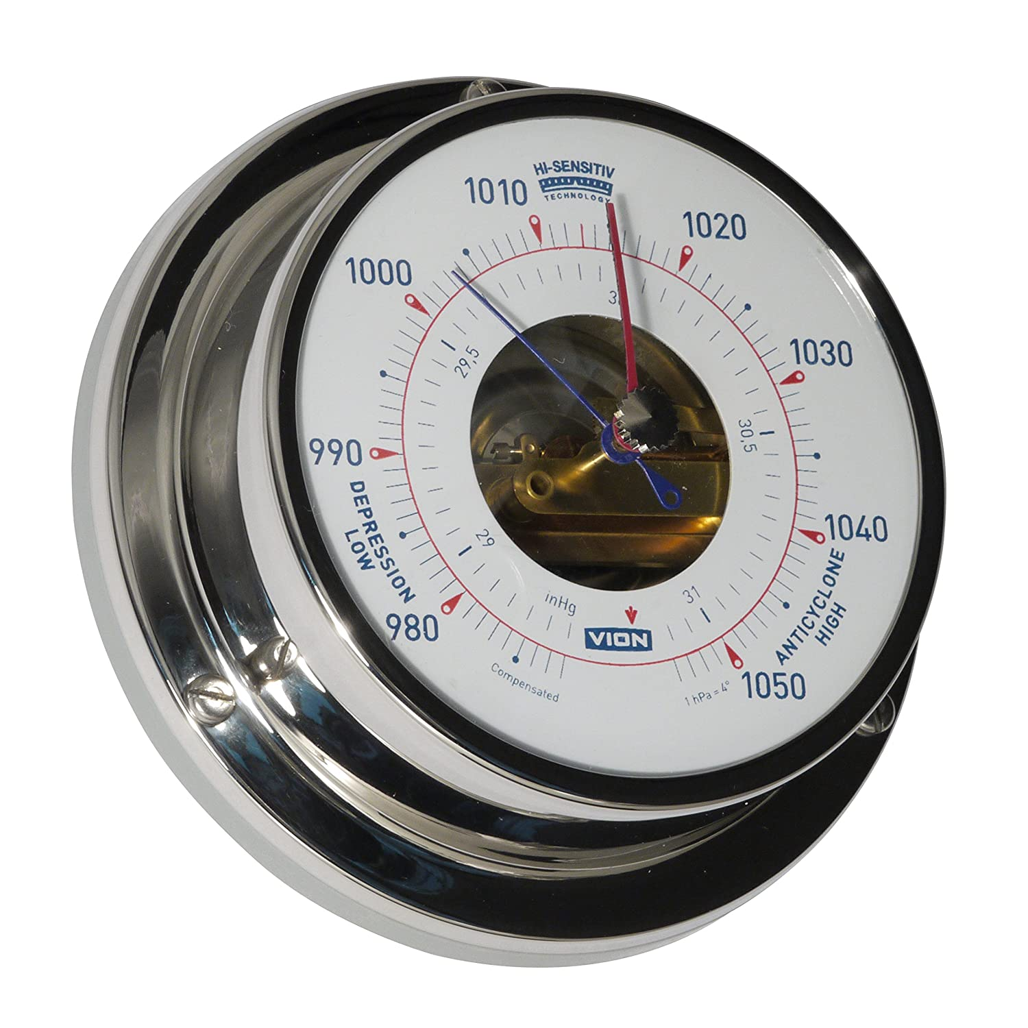 DElite Marine Barometer with 97 mm Wall Flange, Stainless Steel A080 B