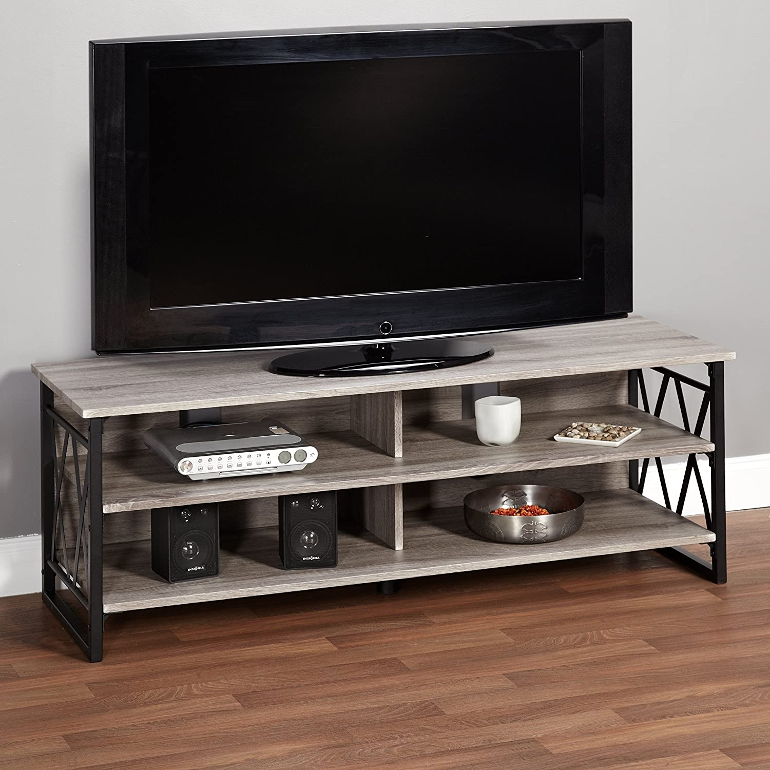 Amazon Com Metro Shop Seneca Xx 60 Inch Black Grey Rustic Tv Stand