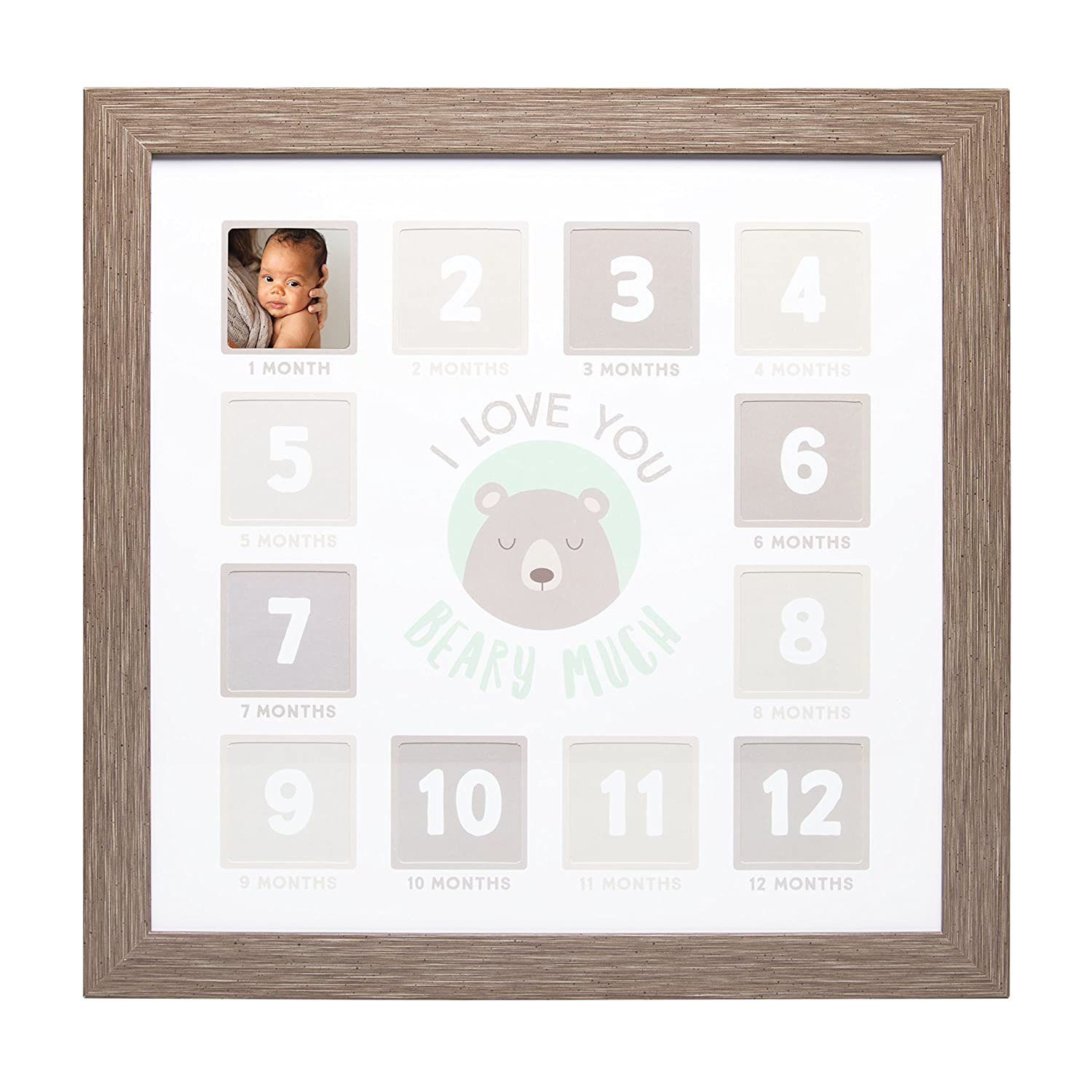 Kate & Milo I Love You Beary Much First Year Frame, Baby Shower Gift, Brown