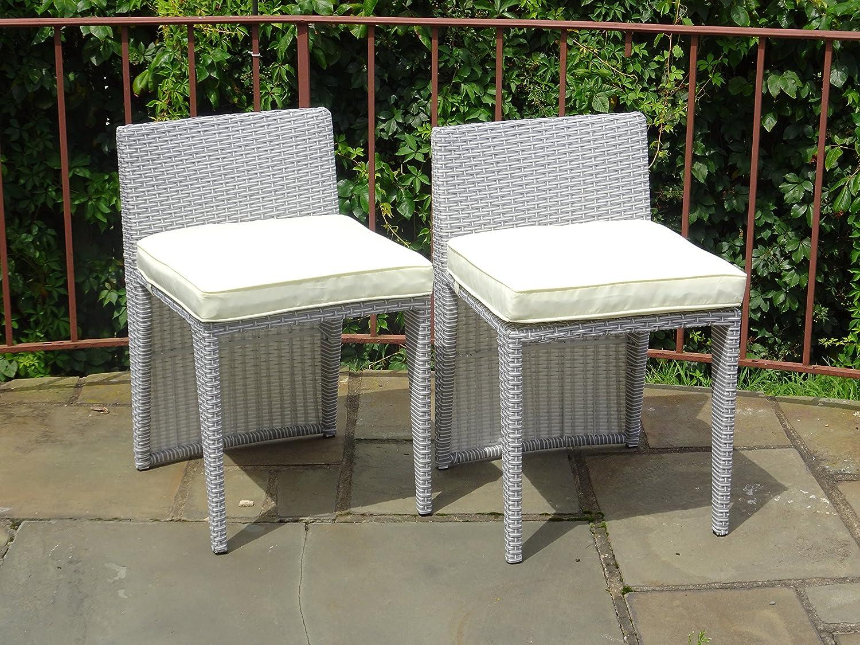 Amazon com set of 2 patio resin outdoor wicker side chair garden sunroom deck furniture grey color garden outdoor