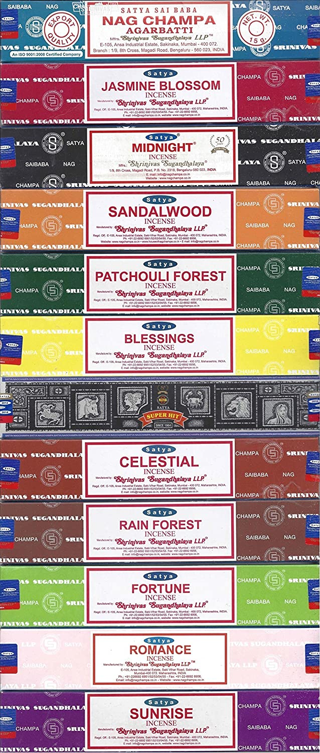 Nag Champa Sunrise Sandalwood Midnight Patchouli Celestial Fortune Blessings Romance Super Hit Jasmine Blossom Rain forest by Satya Gift Set NCS12