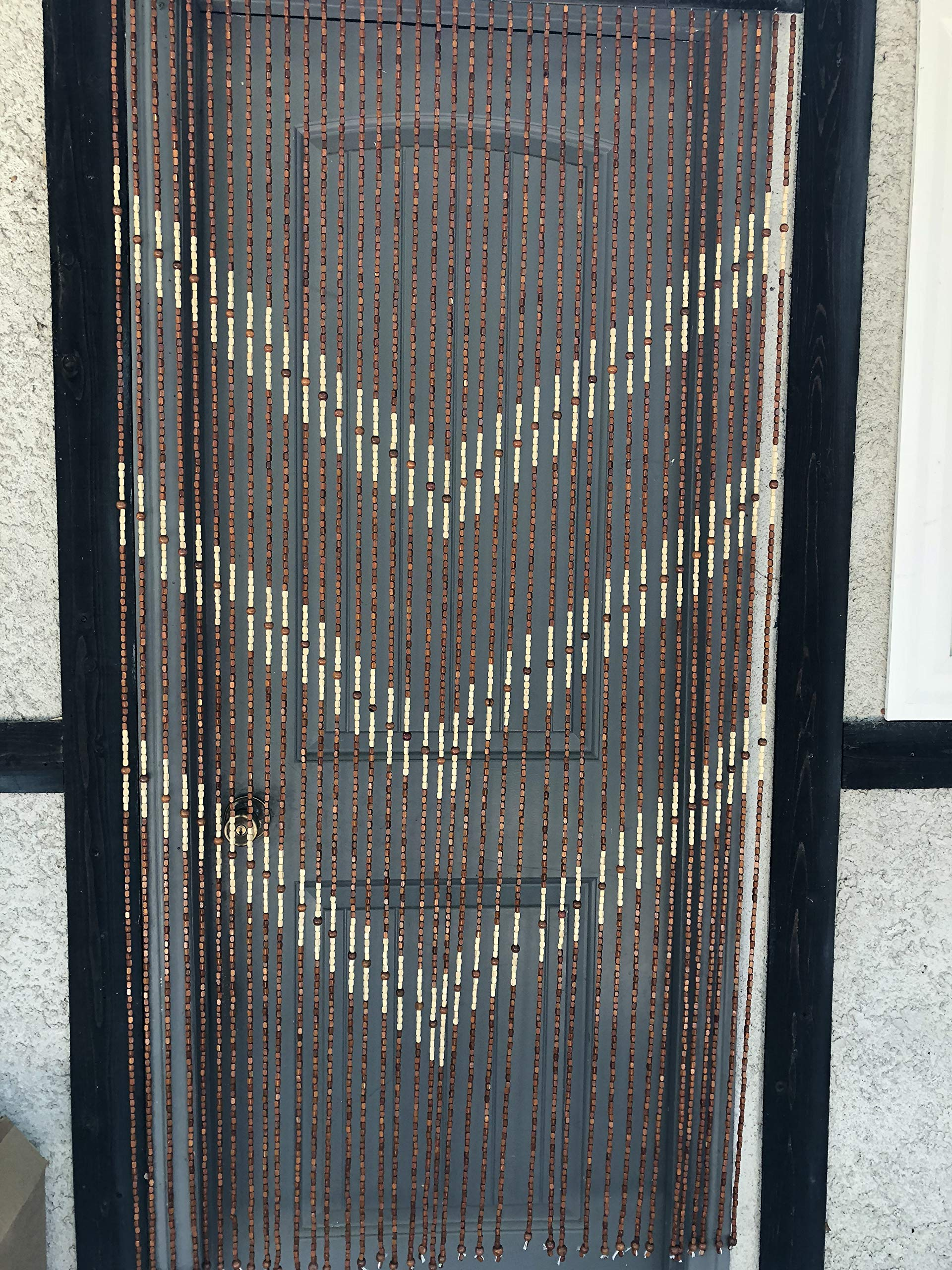 Natural Bamboo & Wood Beaded Curtain, V Pattern , 35.25'' W X 70'' H