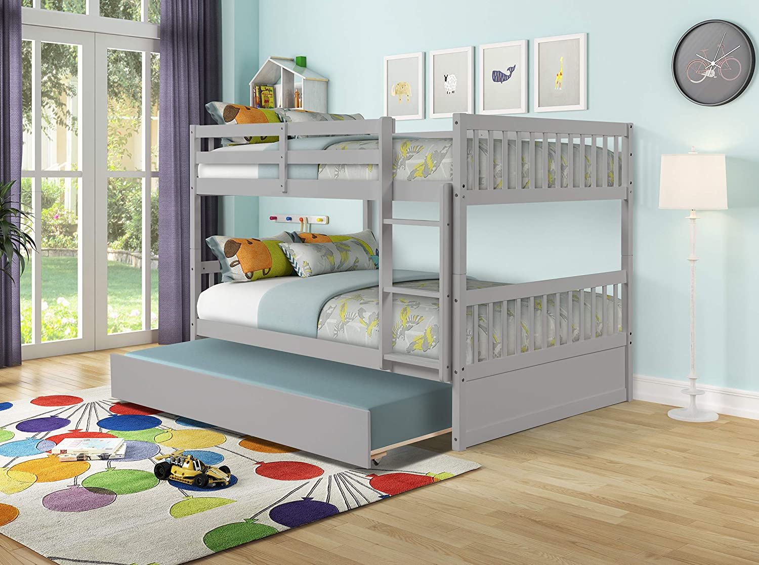 Full Over Full Bunk Bed with Twin Size Trundle, Pine Wood Bunk Beds Full Over Full with Safety Rail & Ladder, Convertible To 2 Full-Size Platform Bed, Bunk Bed for Kids Girls Teens Adults (Grey)