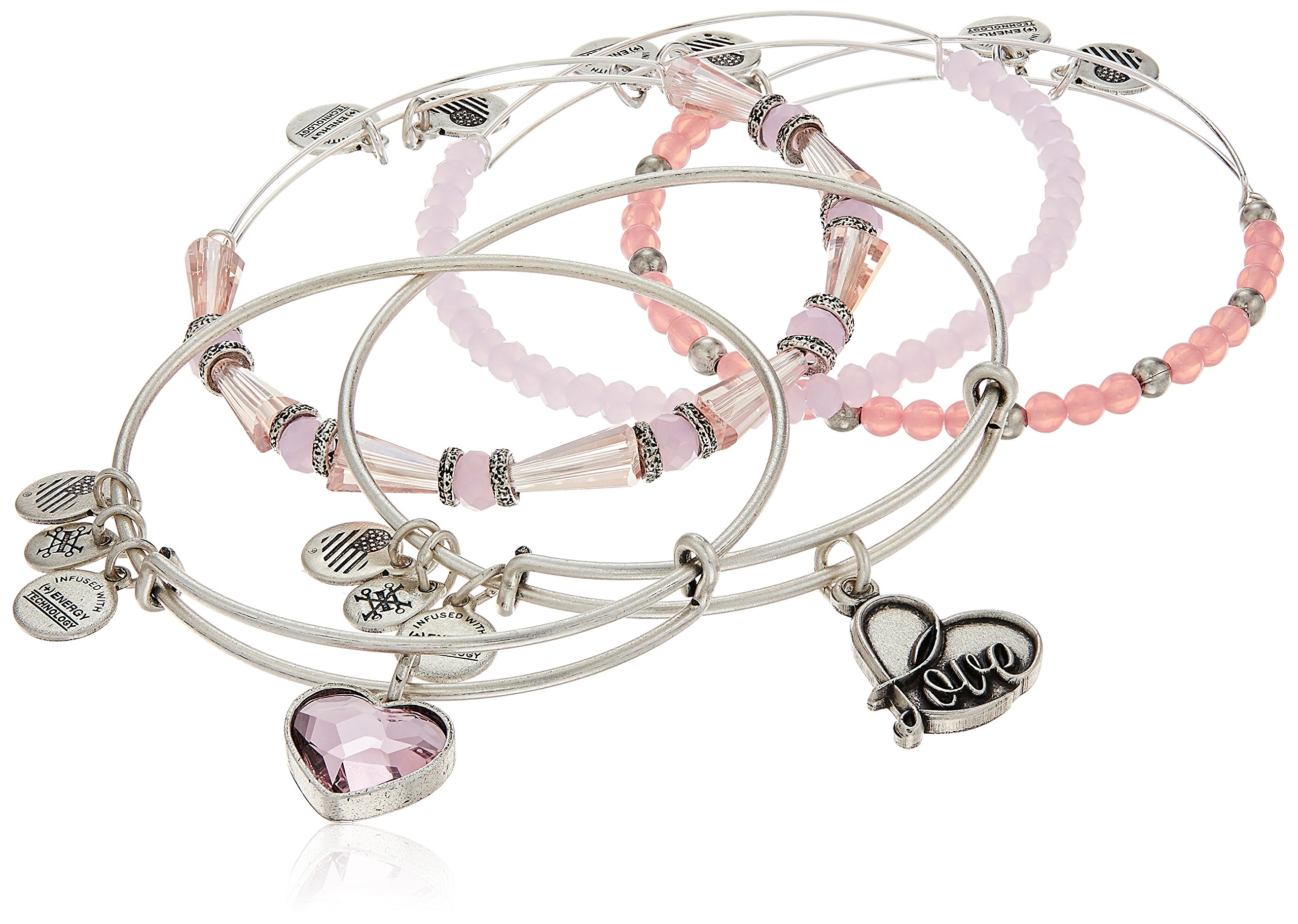 Alex and Ani Alive with Love Pink and Silver Bangle Bracelet