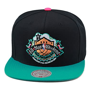 quality design 09094 8c53b Image Unavailable. Image not available for. Color  Mitchell   Ness NBA All  Star Weekend  96 San Antonio Snapback Hat Black Turquoise