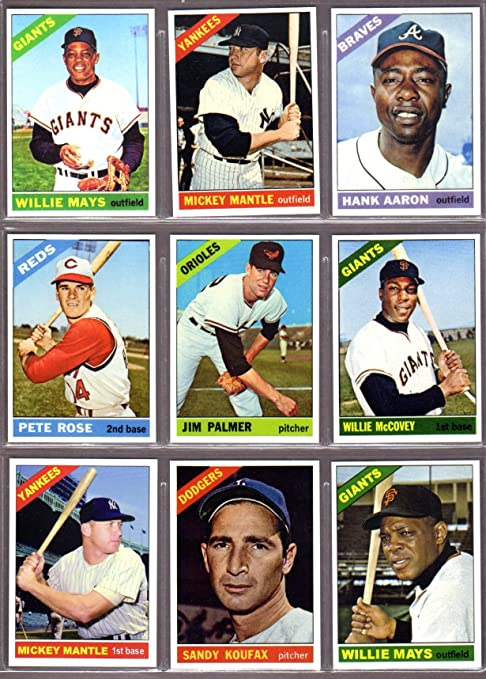 1966 Topps Baseball 9 Card Superstar Reprint Lot W Original Backs