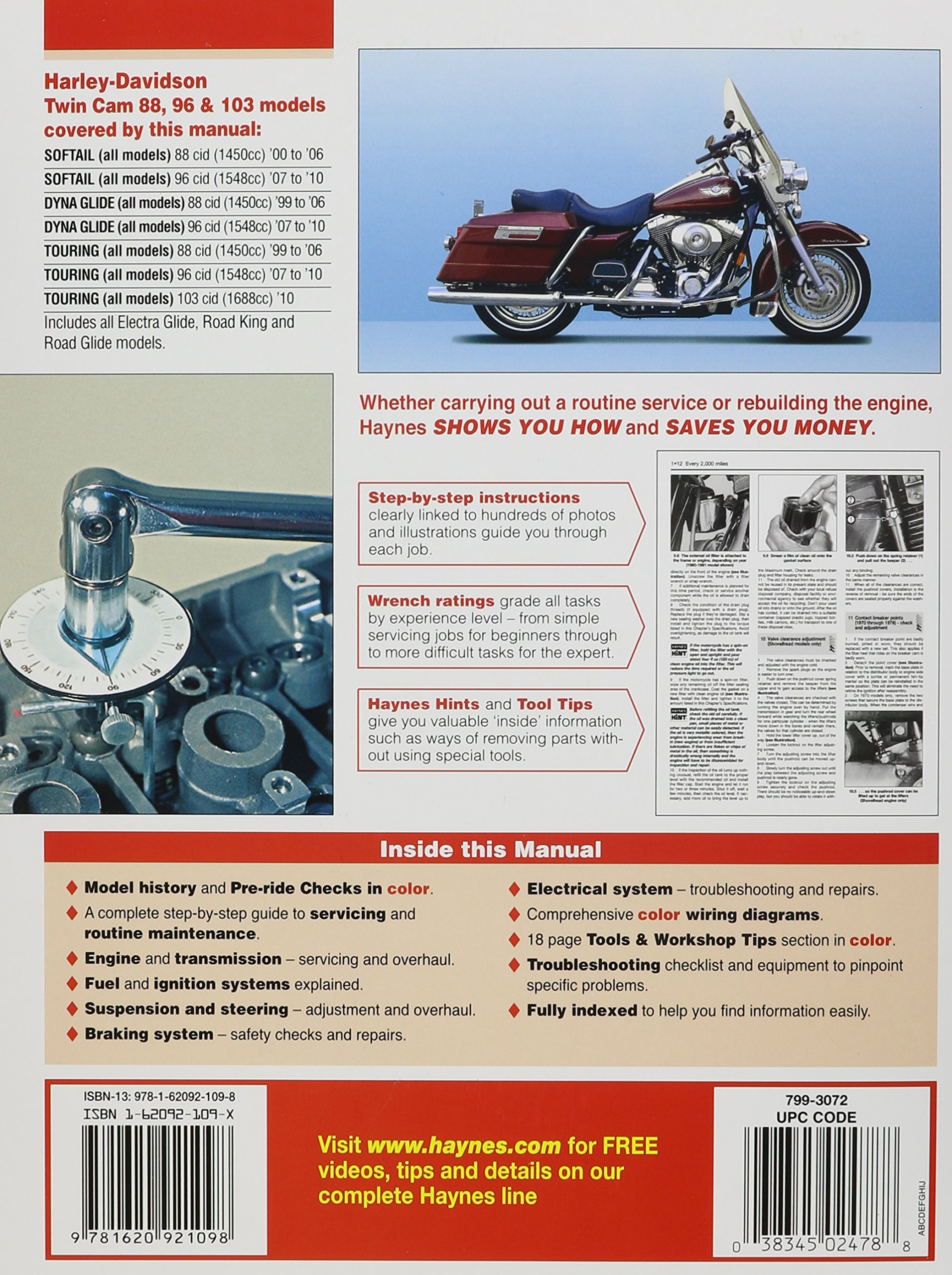 Harley Davidson Twin Cam 88 96 103 Models 99 10 Haynes Repair Wiring Diagram 2014 Manual Service Editors Of Manuals