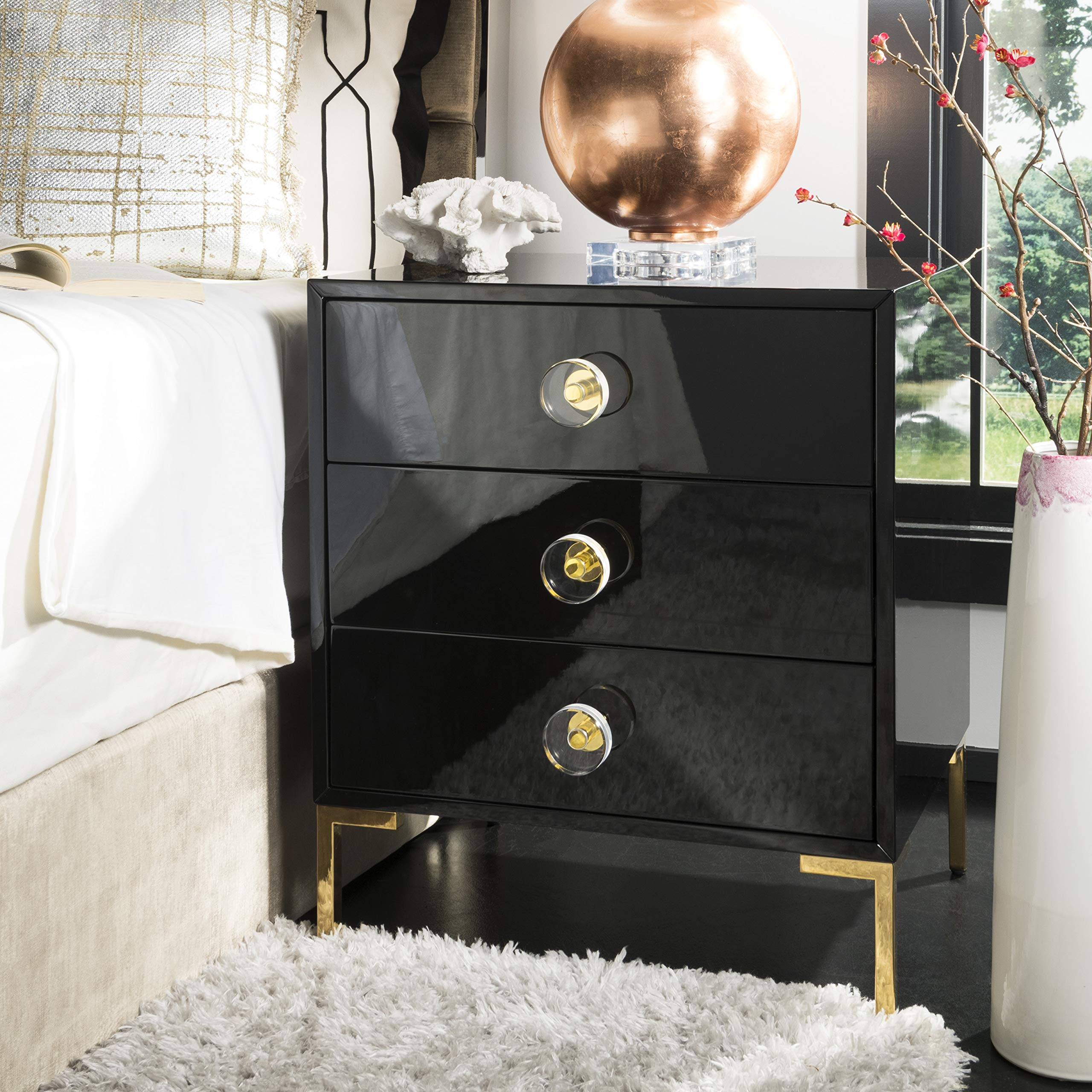 Safavieh SFV3559A Home Collection Lucian 3-Drawer Side Table, Black/Brass by Safavieh