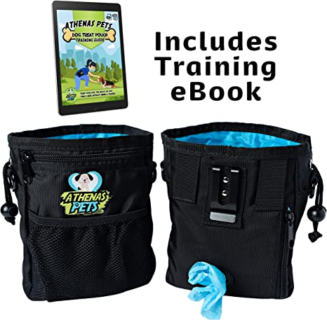 Treat Bag Includes Training eBook Best Treat Pouch and Dog Treat Bag; Great Dog Walking Bag and Dog Training Pouch Dog Treat Pouch for Training with Poop Bag Dispenser Athenas Pets Dog Treat Pouch