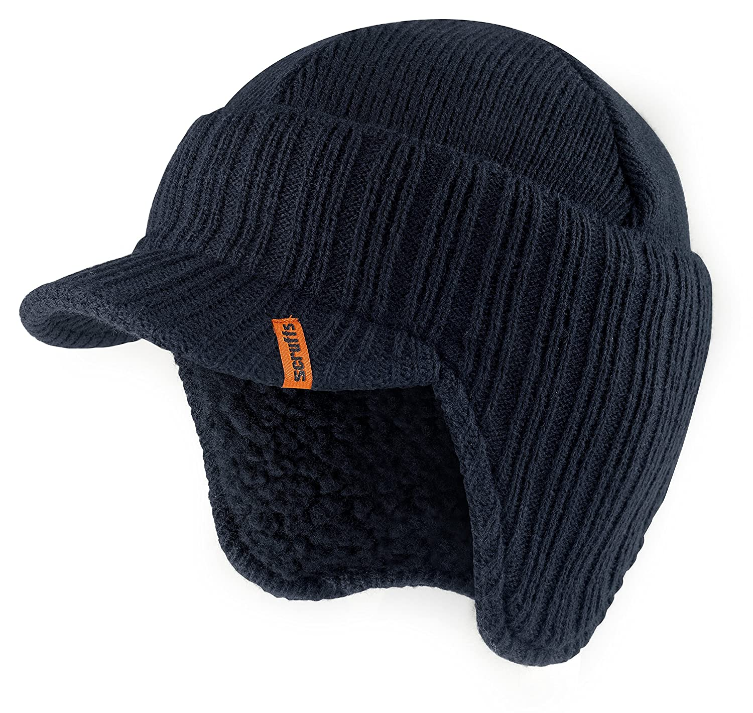 Scruffs Peaked Beanie Hat Navy Insulated Warm Knitted Thermal Winter  Stylish Peak Cap  Amazon.co.uk  Clothing 3e30d09645f