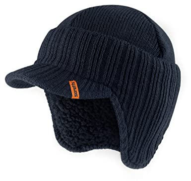 5249ca2d381 Scruffs Peaked Beanie Hat Navy Insulated Warm Knitted Thermal Winter ...