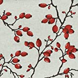 Rose Hips fabric - rich ruby red fruit on charcoal brown stems printed on a natural linen-coloured base cloth - French Designer Fabric 155 cm (61 inches) wide | Sold by the half metre (½ metre) increment