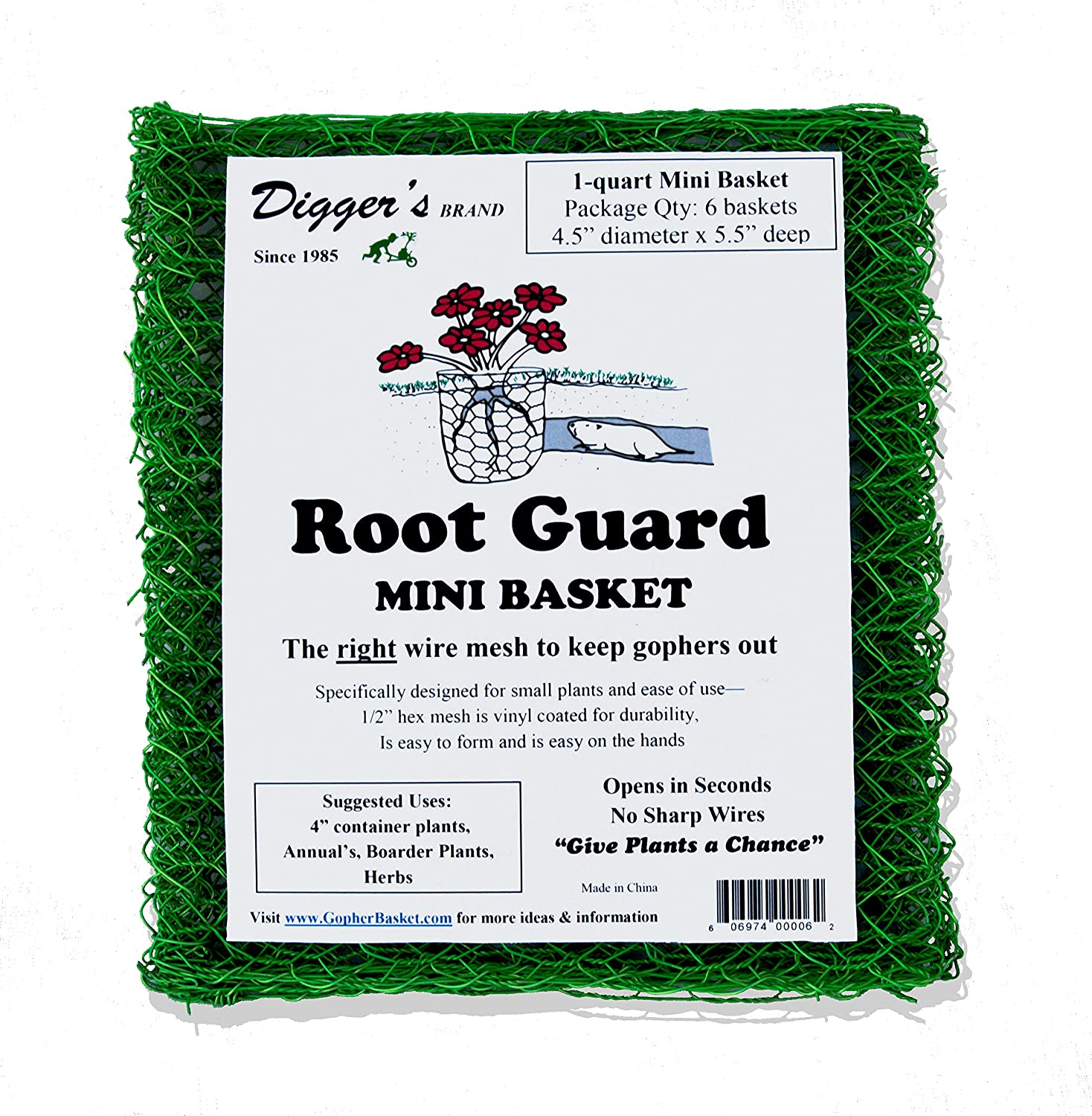 Digger's Mini Root Guard Heavy Duty Gopher Wire Baskets (Bulk Pack of 24, 4 Packs Containing 6 Baskets Each) – Effective Gopher Repellent, Easy to Form Plant Cloche