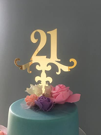 Amazon Com Shinybeauty Birthday Cake Topper Numbers 21 Anniversary