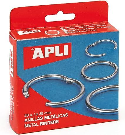APLI 454 - Caja con 20 anillas metálicas (38 mm): Amazon.es: Oficina y papelería