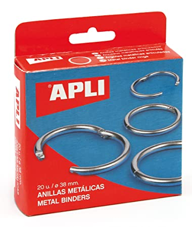 Apli 000454 Set of 20 Metal Ring Openings 38 mm Silver