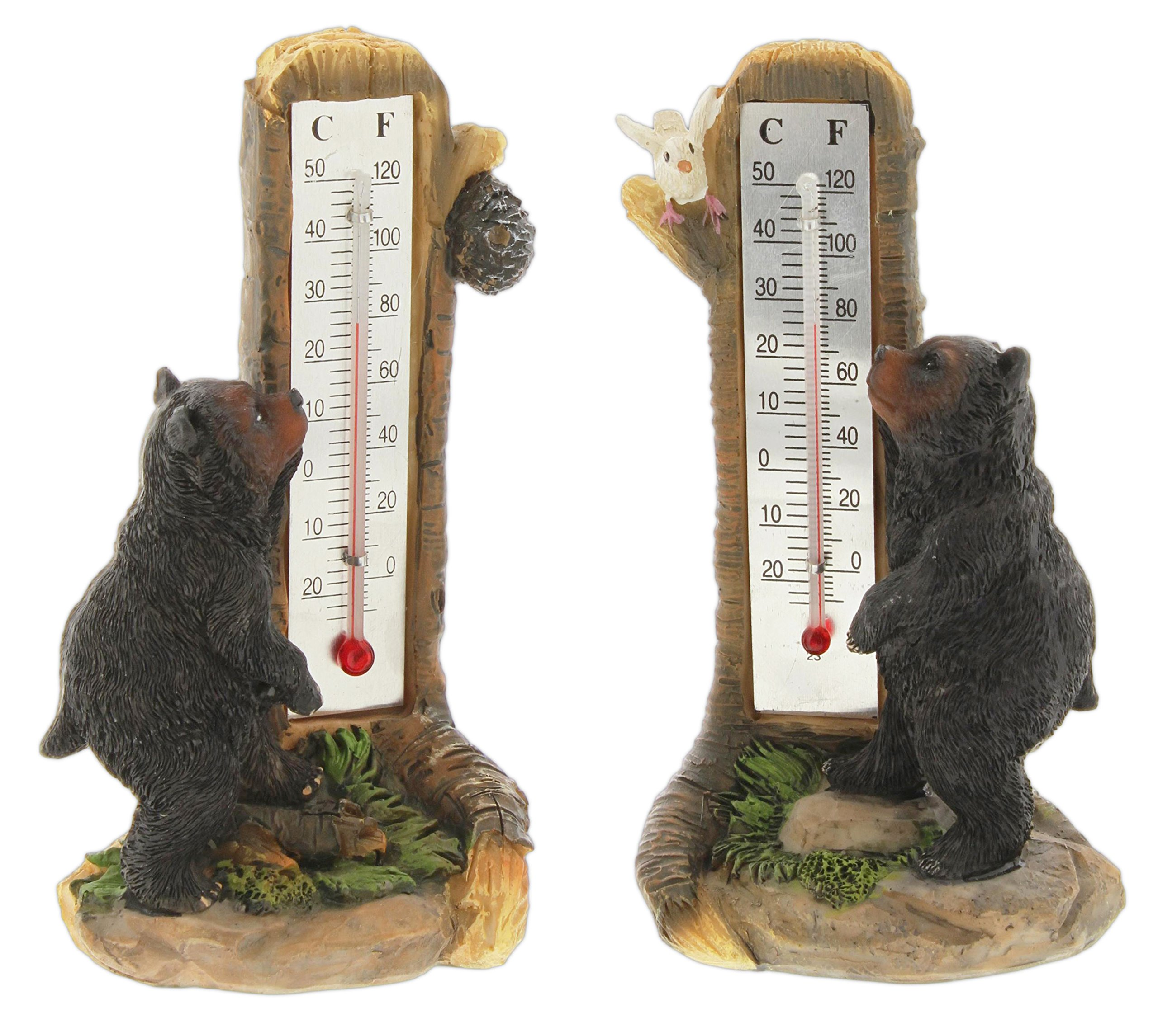 Distinctive Designs Set of 2 Outdoor Thermometers Resin Black Bears