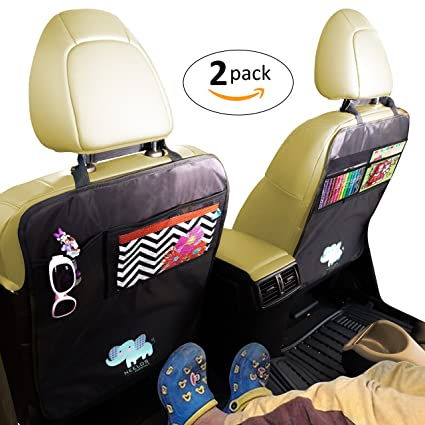 Car Seat Back Protectors Kick Mats With Organizer 2 Pack FREE GIFT