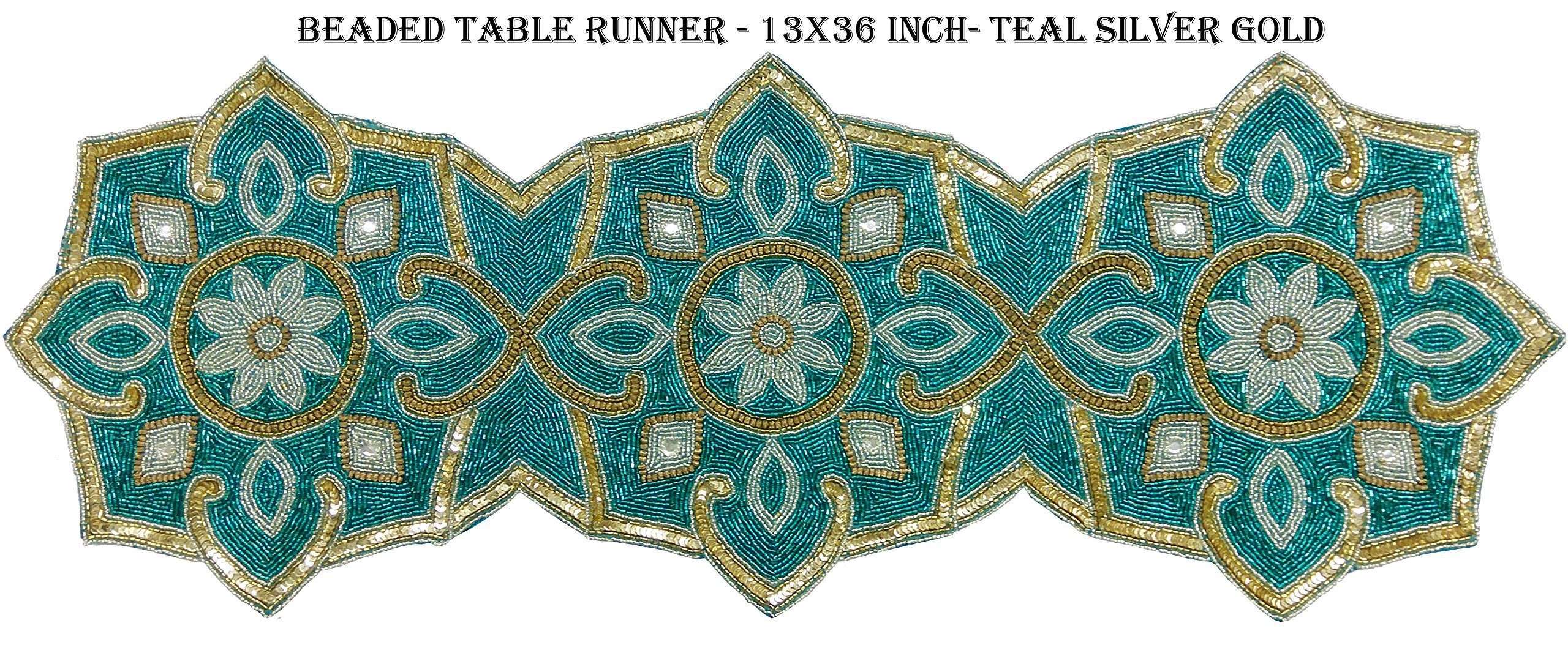 Linen Clubs Hand Made Beaded Table Runner 13x36 Inch in Teal Gold silver Combo colors,produced by skilled village Artisans in India - A Beautiful Complements to Dinner Table Decor Offered by