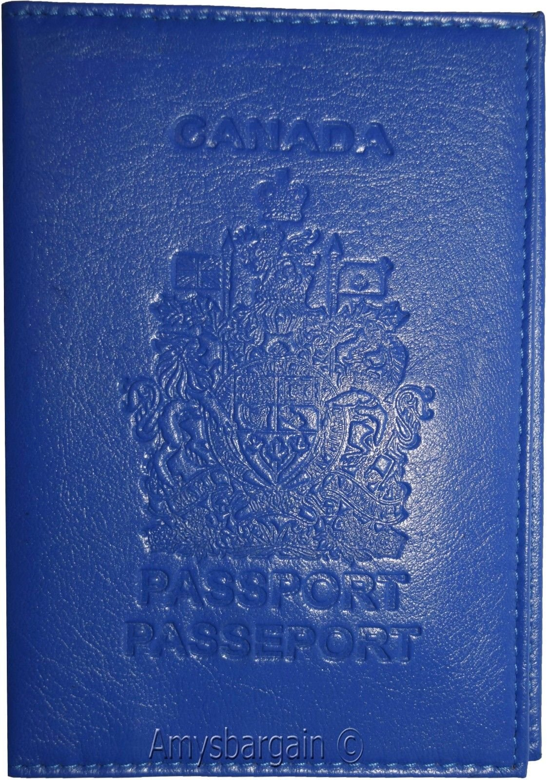 New Canadian Leather passport cover wallet, Pass port case card ATM ID Holder BN (Blue)