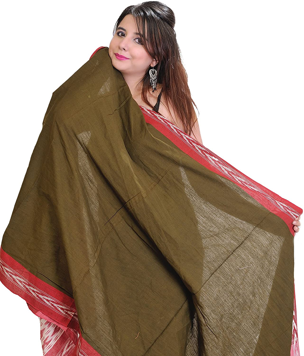 Exotic India Plain Fir Green and Red Dupatta from Pochampally with Ikat Weave