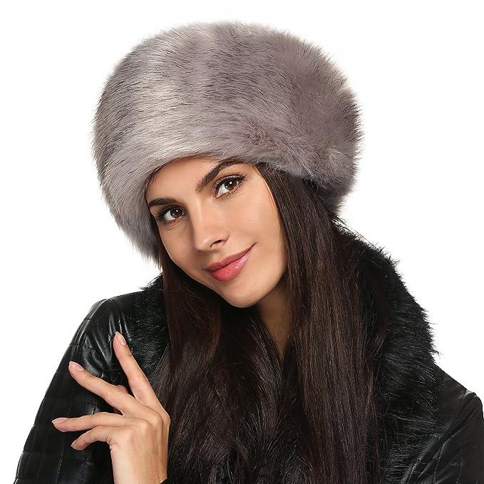Zeogoo Women Winter Faux Fur Russian Cossack Style Hat Headband Ear Warmer  (One Size 2efd6e5d5a91