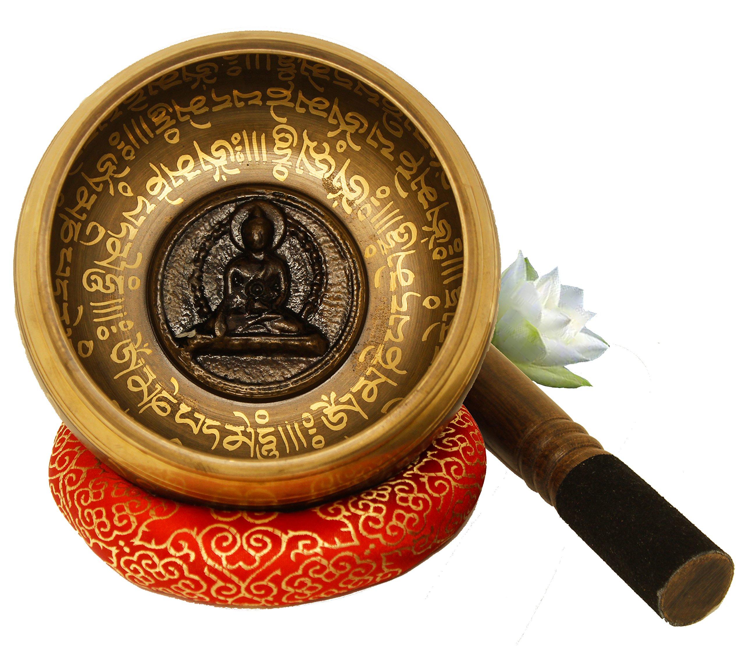 Large Tibetan Singing Bowl Set-Meditation Symbols Printed 5'' Singing Bowl With Wooden Mallet & Cushion For Prayer/Meditation/Yoga/Chakra Healing/Mindfulness/Decoration (Gold) by Juccini