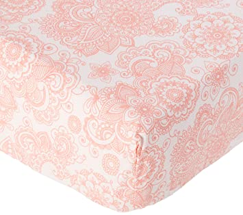 Bacati Floral Muslin 2 Piece Crib//Toddler Fitted Sheet Coral