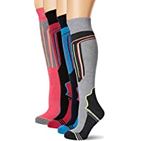 FM London Thermal Ski Socks Multipack Calcetines altos, Multicolor (Assorted), Talla única (Pack de 4) para Mujer