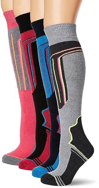 FM London Thermal Ski Socks Multipack, Calcetines Altos para Mujer, Multicolor (Assorted)