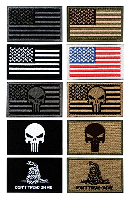 10 PCS Tactical Patches of USA US American Flag Punisher Don t Tread On Me de3256b2852