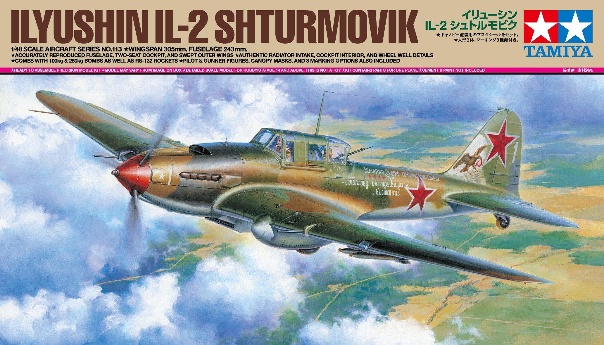 TAMIYA America, Inc 1/48 Ilyushin IL-2 Shturmovik Aircraft, TAM61113 3