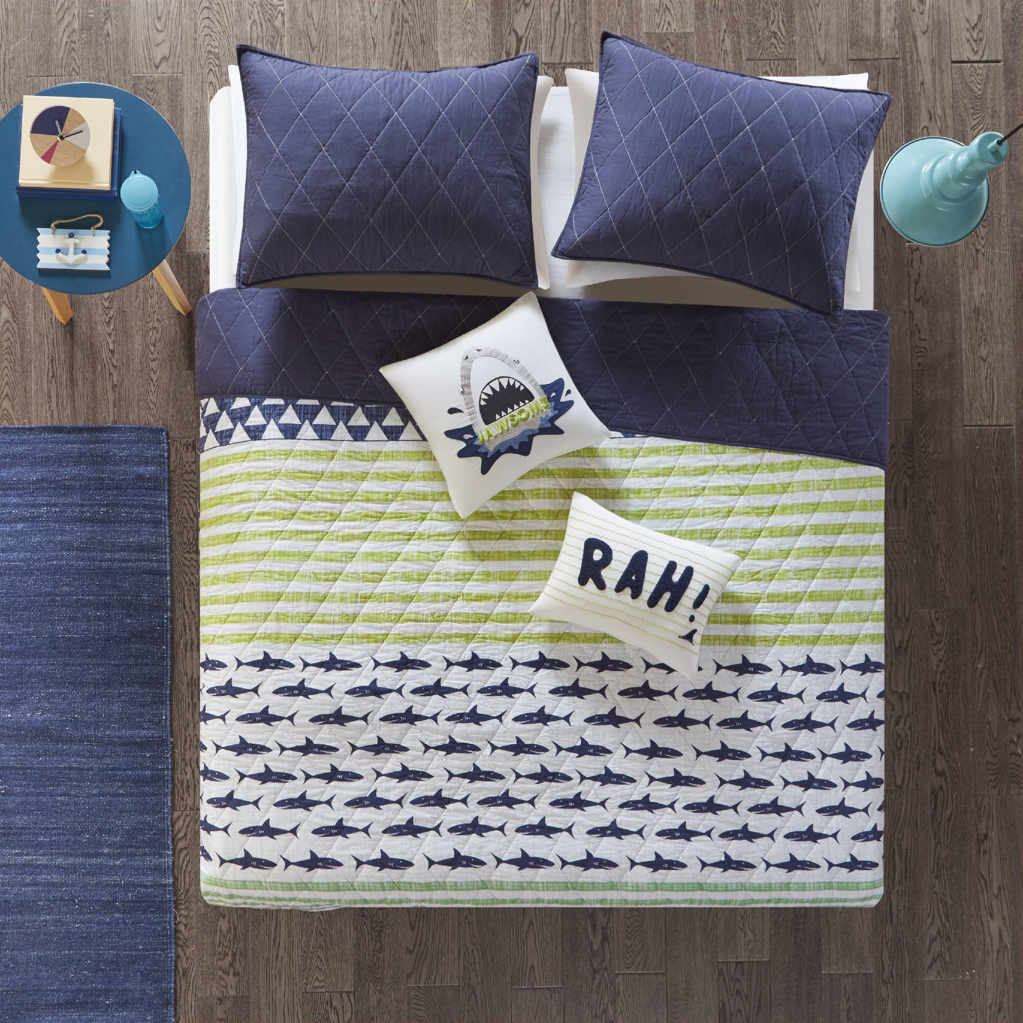5 Piece Kids Navy Blue Green Shark Themed Coverlet Full Queen Set, Deep Sea Predator Bedding Marine Life Under The Water Animal Quilted Pattern Ocean Fish Stripes Light Grey, Reverse Solid Cotton