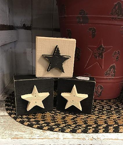 Amazon Com Star Wood Blocks Set Of Three Farmhouse Primitive Americana Country Rustic Home Decor Tabletop Shelf Ornament July 4 Patriotic Stars And Stripes Size 3 1 2 X 3 1 2 Handmade