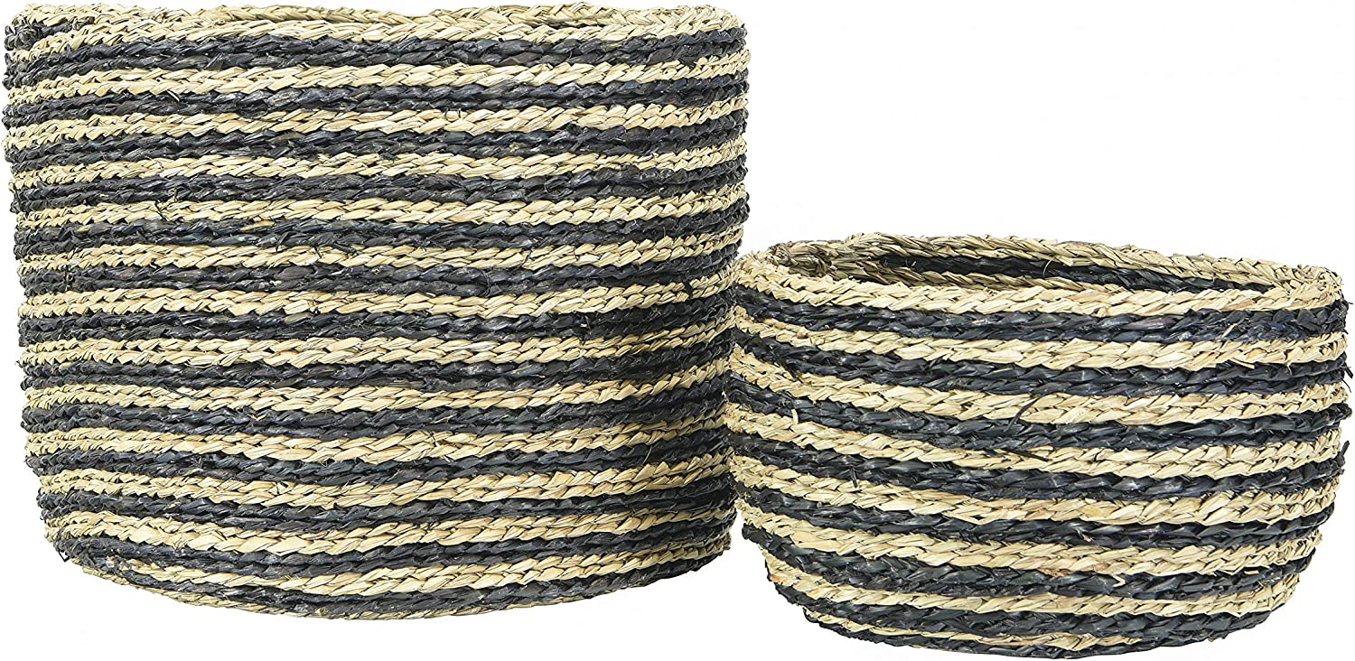 Amazon Com Bloomingville Handwoven Striped Seagrass Set Of 2 Sizes Baskets Black Home Kitchen