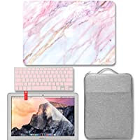 GMYLE 4 in 1 MacBook Air 13 Inch A1369/A1466 (2008-2017 Release) Bundle, Hard Matte Case, Grey Protective Carrying Sleeve Bag with Handle & Pockets, Keyboard Cover & Screen Protector - Pink Marble Set