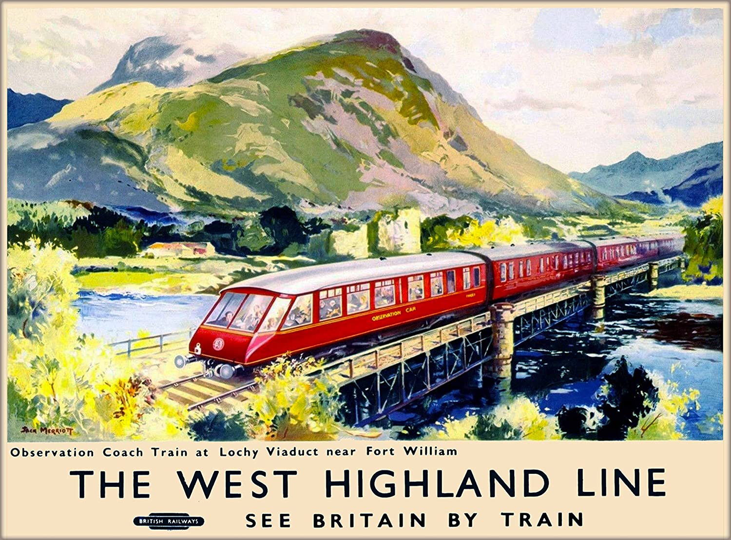 The West Highland Line See Britain by Train Scotland British Railways United Kingdom Vintage Railroad Travel Home Collectible Wall Decor Advertisement Art Poster Print. Measures 10 x 13.5 inches
