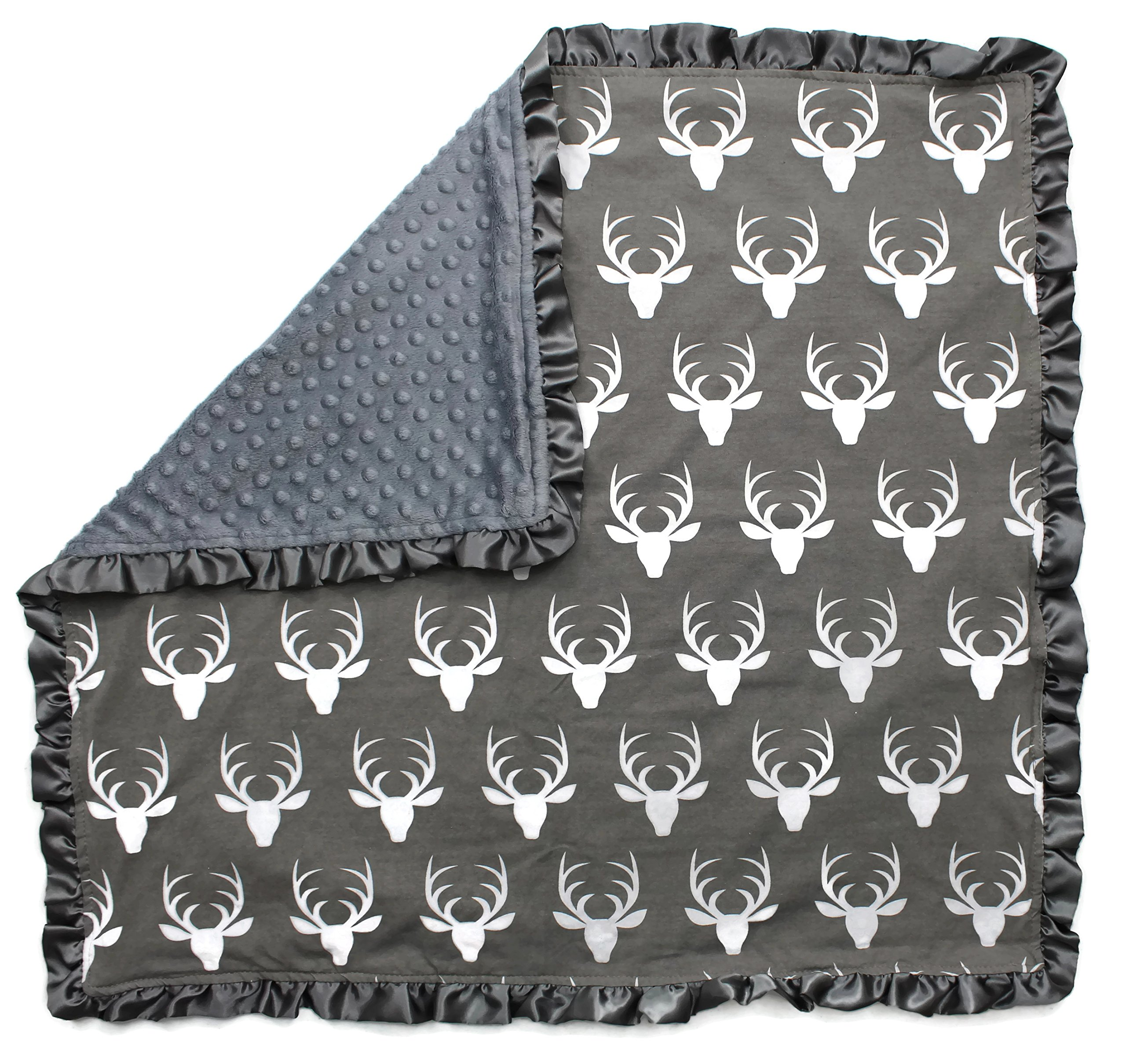 Dear Baby Gear Baby Blankets, Antlers on Grey, Grey Minky, 32 Inches by 32 Inches