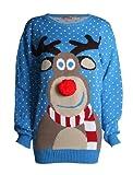 Fast Fashion - Maglione natalizio unisex con motivo Rudolph, naso 3D a pom pom