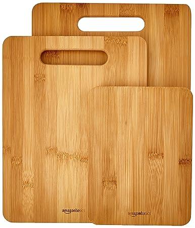 Amazoncom Amazonbasics 3 Piece Bamboo Cutting Board Set Kitchen