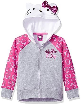 hello kitty big girls costume hoodie heather greypinkwhite
