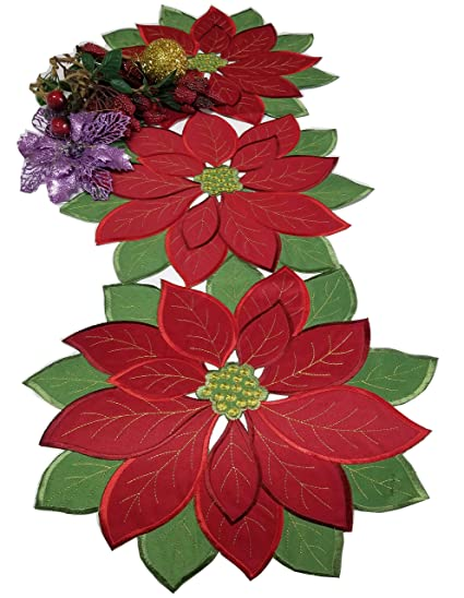 934fc848a GRANDDECO Holiday Christmas Applique Poinsettia Red Green Embroidered  Christmas Flower Linen Table Runner for Home Dinner