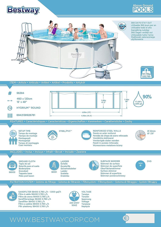bestway hydrium pool set rund wei 460 x 120 cm garten. Black Bedroom Furniture Sets. Home Design Ideas