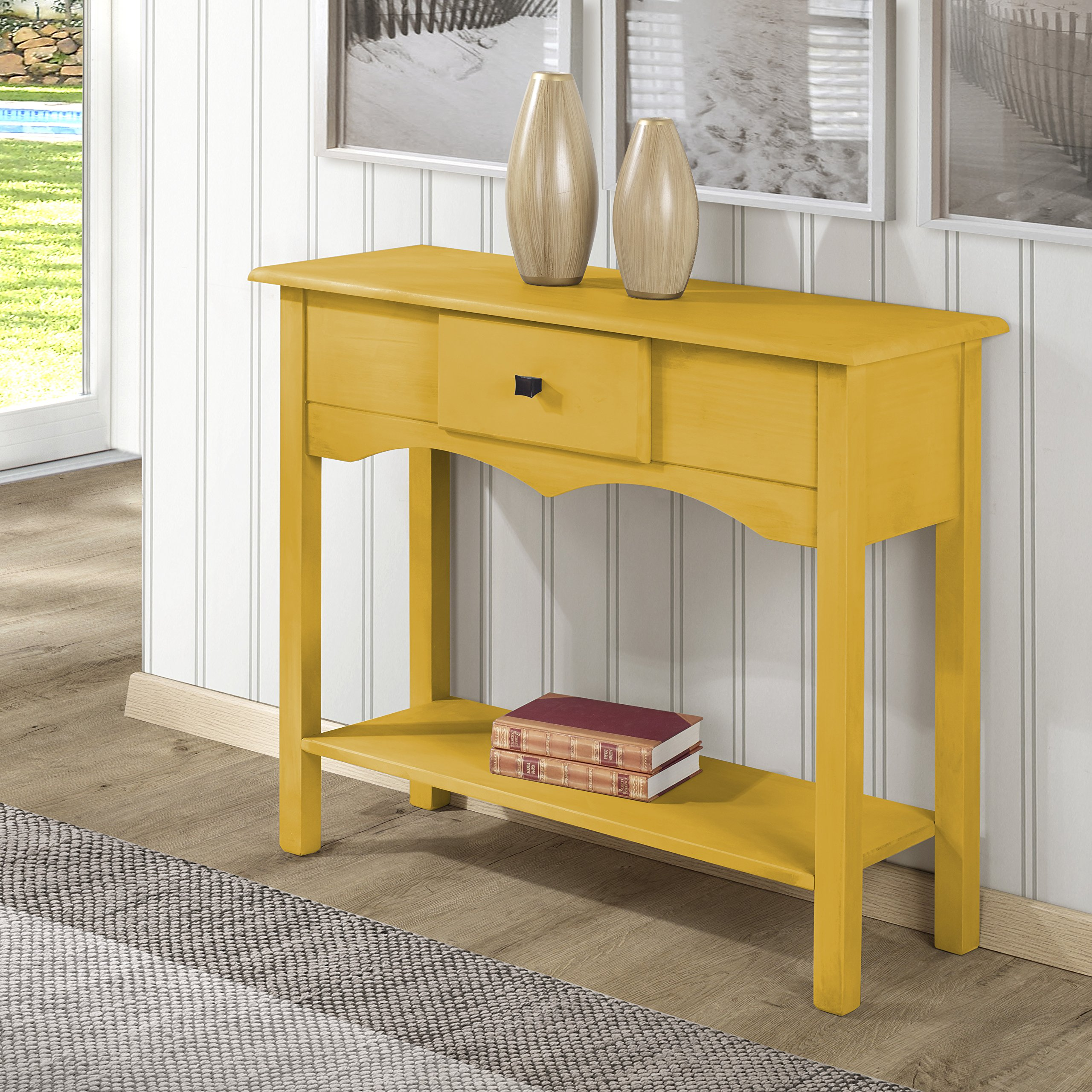 Manhattan Comfort Jay Collection Modern Wooden Sideboard Table with One Drawer and One Shelf, Yellow by Manhattan Comfort (Image #2)