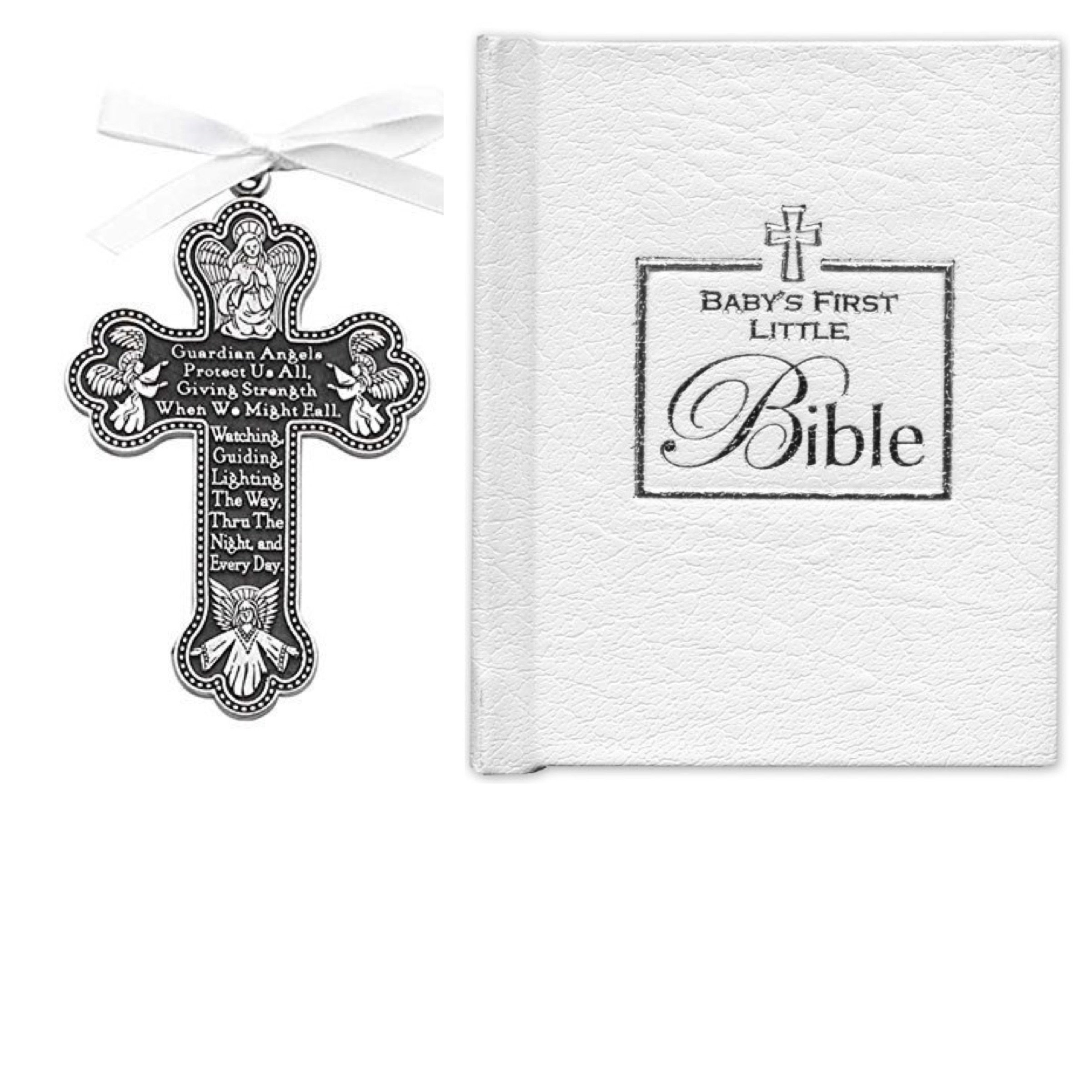 BABY'S Gift Set - First Little Bible & CRIB CROSS - BOY or Girl - Gender Neutral - Bless This Child - BAPTISM Christening BOXED WHITE Ribbon