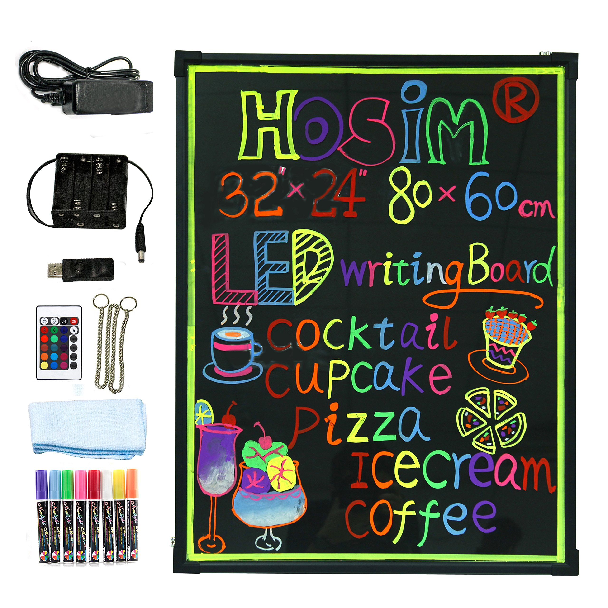 Hosim LED Message Writing Board,32''x24'' Illuminated Erasable Neon Effect Restaurant Menu Sign with 8 colors Markers, 7 Colors Flashing Mode DIY Message Chalkboard for Kitchen Wedding Promotions (6080)
