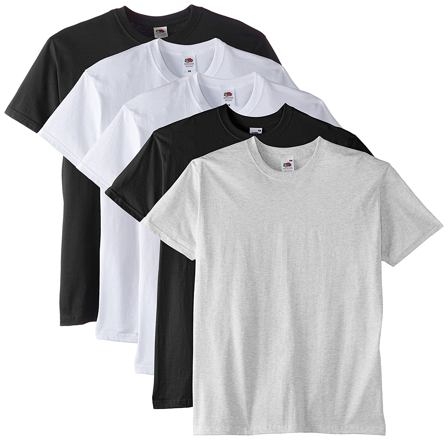 Fruit of the Loom Men's Super Premium Short Sleeve T-Shirt Pack of 5 61-044-0