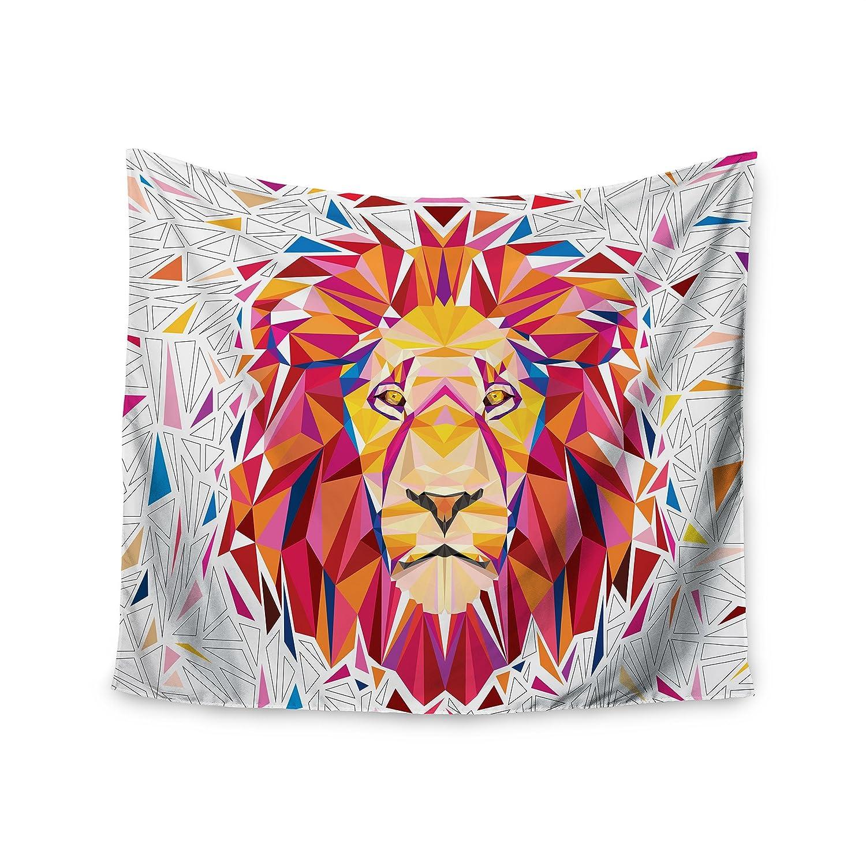 51 x 60 Wall Tapestry Kess InHouse Ancello Rainbow Lion Pink Orange Digital