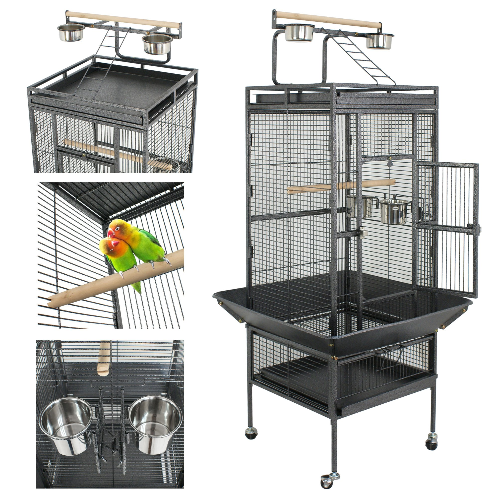 Nova Microdermabrasion 61''/68'' Large Bird Cage Play Top Parrot Cockatiel Parakeet Chinchilla Macaw Cockatoo Cage W/Stand Perch Pet Supplies (61'') by Nova Microdermabrasion